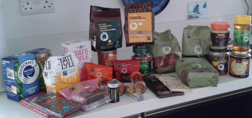 A selection of Fairtrade items found in my kitchen cupboards. All bought locally.