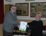 Matlock Mayor receives the Fairtrade Town Renewal Certificate from Barbara Daniels